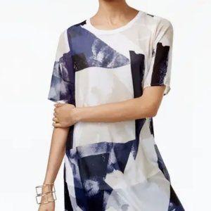 ALFANI Women White Printed Short Sleeve Scoop Neck